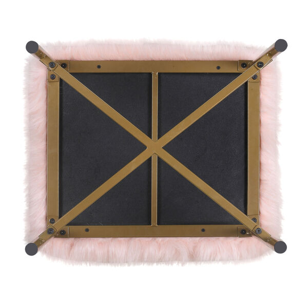 Faux Fur Square Ottoman - Pink, image 4