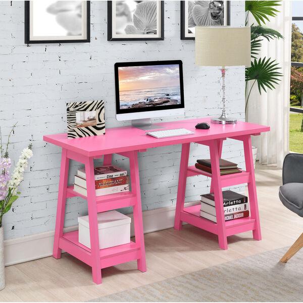 Designs2Go Pink Double Trestle Desk, image 1