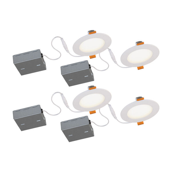 STAK Matte White 5-Inch Integrated LED Recessed Fixture, Pack of 4, image 1