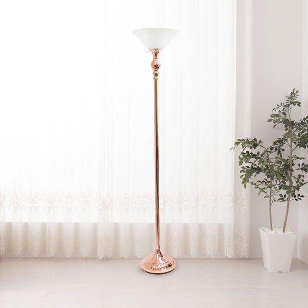 Quince Rose Gold White Shade One-Light Floor Lamp, image 3