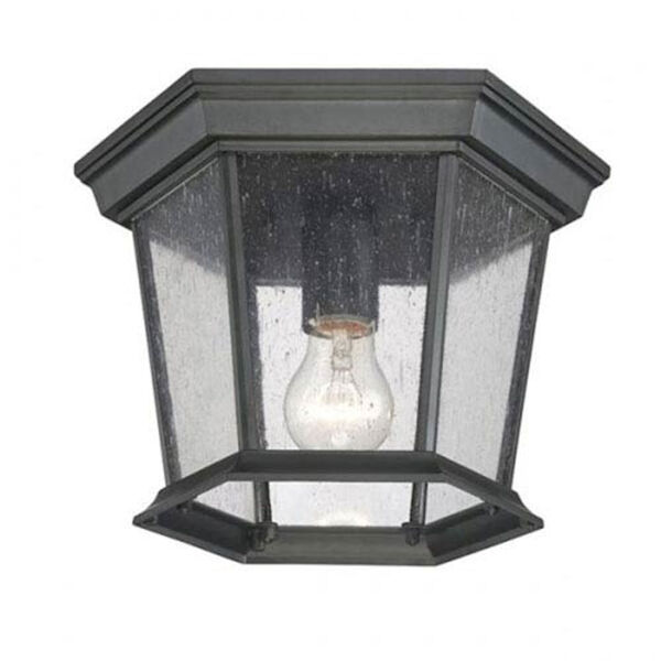 Dover Matte Black One-Light Outdoor Ceiling Mount with Clear Seeded Glass, image 1