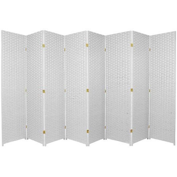 Six Ft. Tall Woven Fiber Room Divider Eight Panel White, Width - 136 Inches, image 1