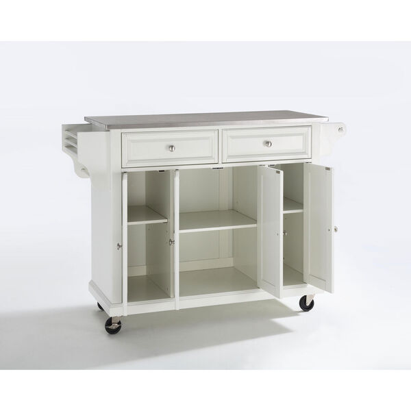 Stainless Steel Top Kitchen Cart/Island in White Finish, image 1