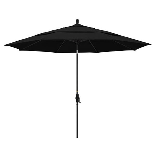 11 Foot Umbrella Aluminum Market Collar Tilt Double Vent Matted Black/Sunbrella/Black, image 1