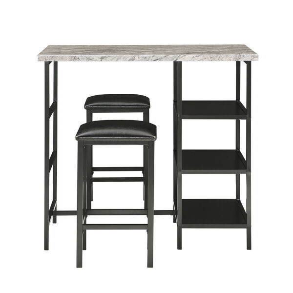 Rosa Black Three-Piece Counter Height Table Set with Marble Top, image 1