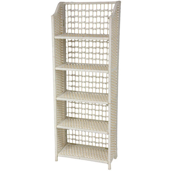 53 Inch Natural Fiber Shelving Unit White, Width - 19.5 Inches, image 1