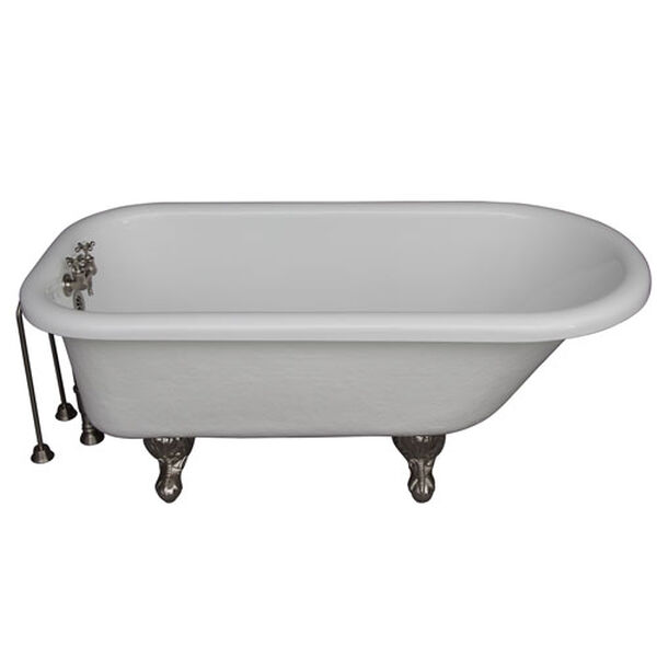 Brushed Nickel Tub Kit 60-Inch Acrylic Roll Top, Tub Filler, Supplies, and Drain, image 1