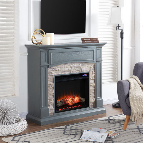 Seneca Cool Slate Gray Electric Media Fireplace, image 4