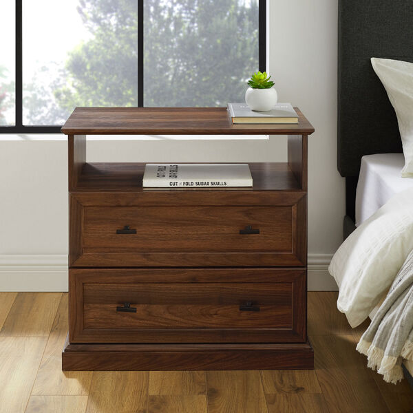 Clyde Dark walnut Two Drawer Nightstand, Set of Two, image 2