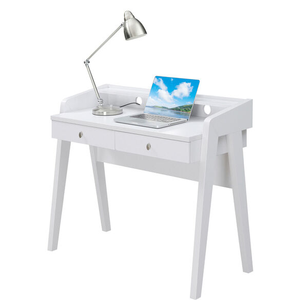 Newport White Deluxe Two-Drawer Desk, image 3