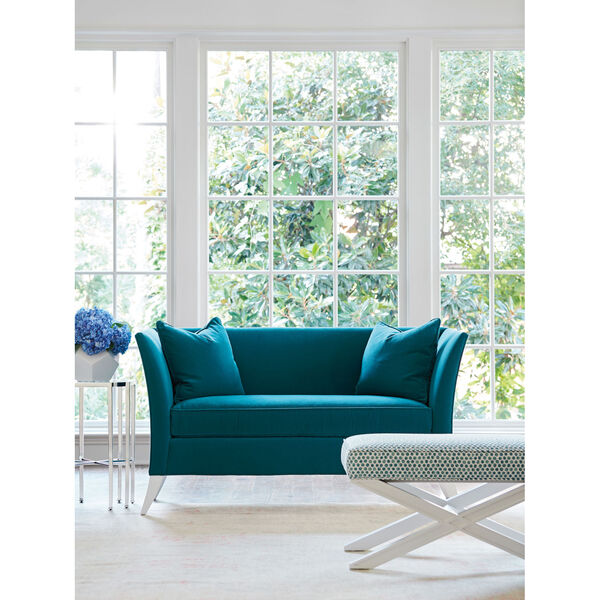 Avondale Blue and White Hampstead 60-Inch Settee, image 3