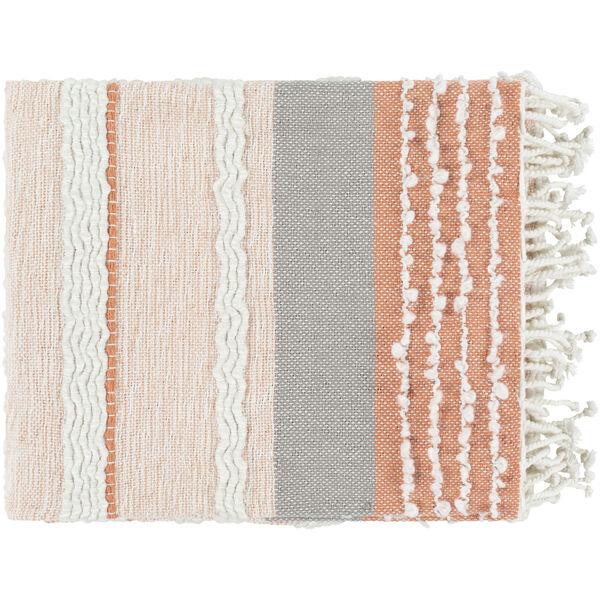 Manteo Coral Medium Gray Cream 32 x 60 Inch Throw, image 1