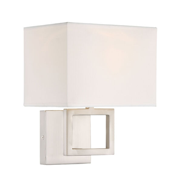 Uptown Brushed Nickel One-Light Wall Sconce with Square White Fabric Shade, image 2