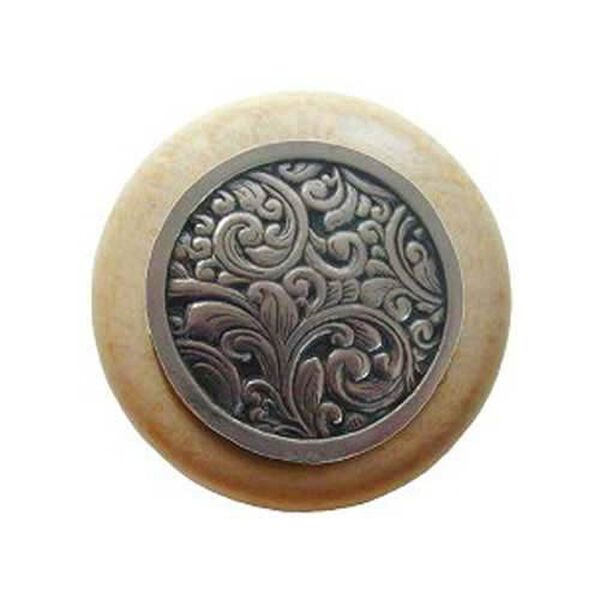 Natural Wood Saddleworth Knob with Brite Nickel, image 1