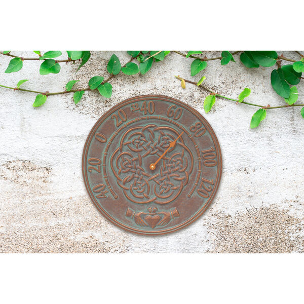 Celtic Knot Copper Verdigris Outdoor Thermometer, image 2