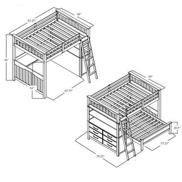 Highlands Driftwood Full Loft Bed, image 2
