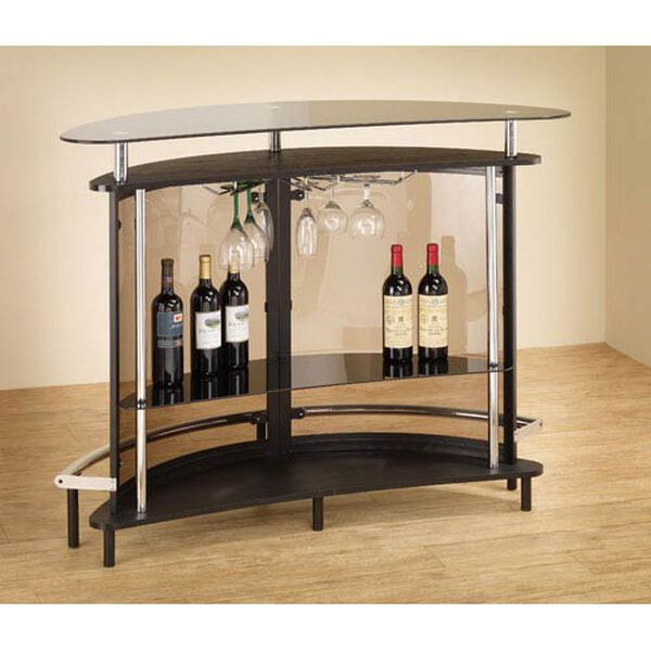 Black Contemporary Bar Unit with Smoked Acrylic Front, image 1