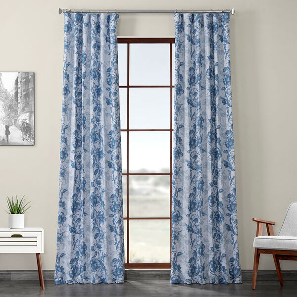 Blue Printed 84 x 50-Inch Polyester Blackout Curtain Single Panel, image 1