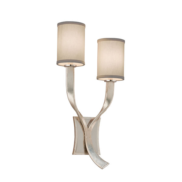 Roxy Modern Silver Leaf with Polished Stainless Accents Right Two-Light Wall Sconce, image 1