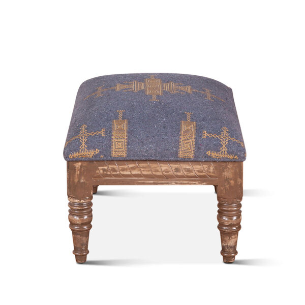 Algiers Blue and Brown Upholstered Stool, image 4