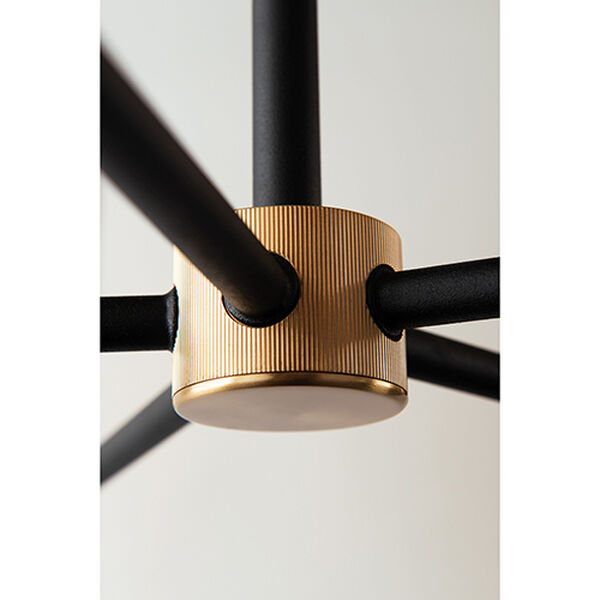 Cleo Black and Brass Six-Light 37-Inch Chandelier, image 5