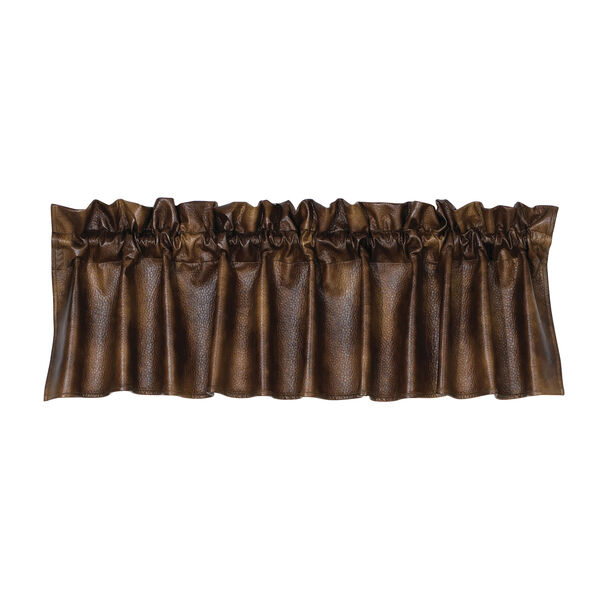 Brown Faux Leather 84 x 18-Inch Valance, image 1