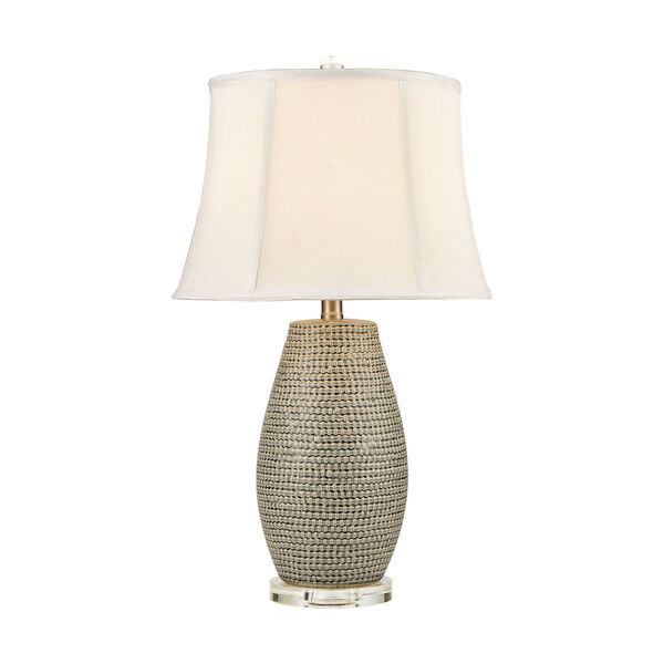 Port Lewick Gray Silver Grey Galze Clear Crystal One-Light Table Lamp, image 1