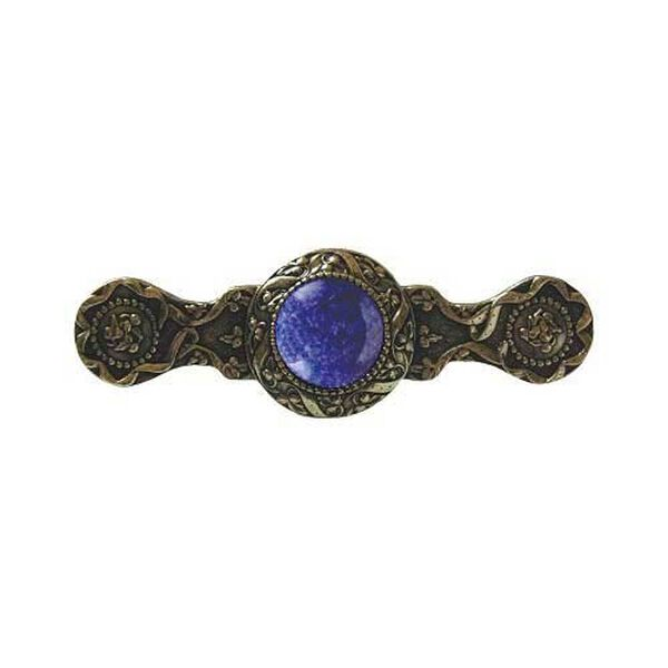 Brite Brass Victorian Jeweled Pull with Blue Sodalite Stone, image 1