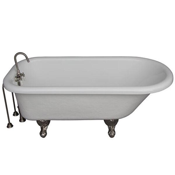 Brushed Nickel Tub Kit 67-Inch Acrylic Roll Top, Tub Filler, Supplies, and Drain, image 1