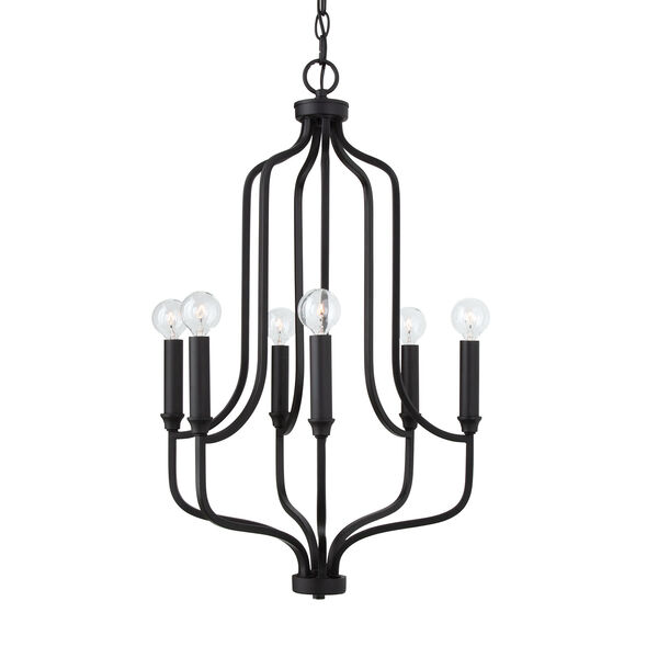 HomePlace Reeves Matte Black Six-Light Chandelier, image 2