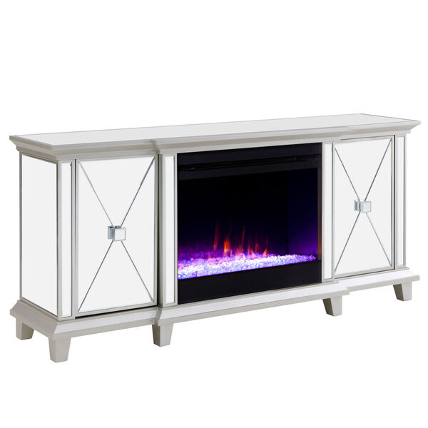 Toppington Mirror and silver Mirrored Electric Fireplace with Media Console, image 5
