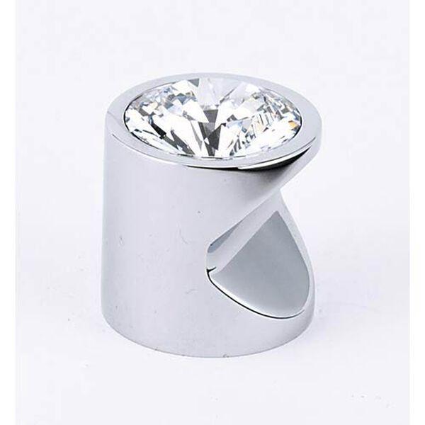 Contemporary Polished Chrome 1-Inch Large Crystal Knob, image 1