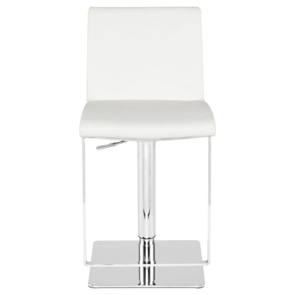 Lewis White and Silver Adjustable Stool, image 2