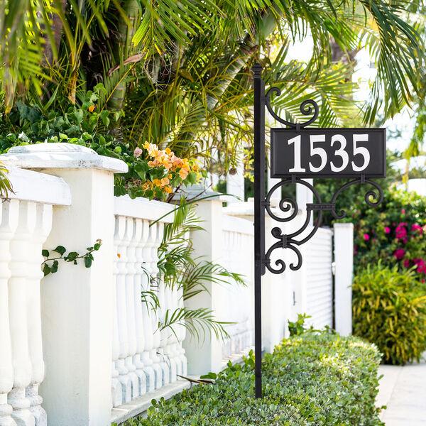 Nite Bright Black White Ironwork Reflective Address Post Sign, image 5