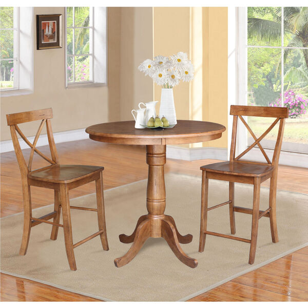 Distressed Oak 36-Inch Round Pedestal Gathering Height Table with Two X-Back Counter Height Stool, Set of Three, image 1