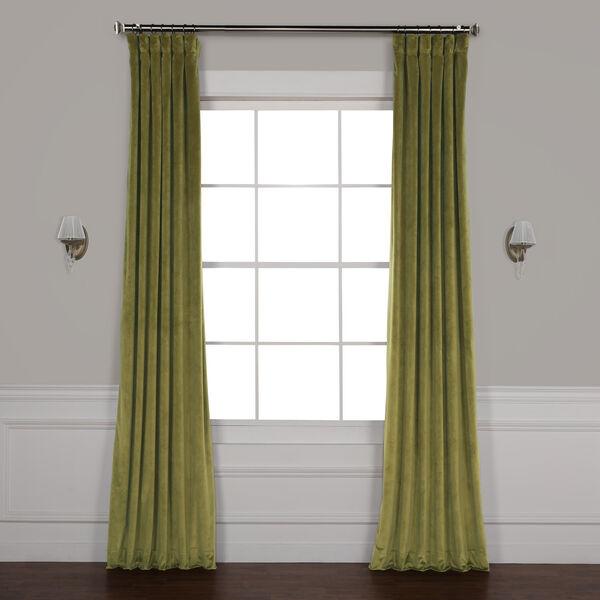Green 96 x 50 In. Plush Velvet Curtain Single Panel, image 1