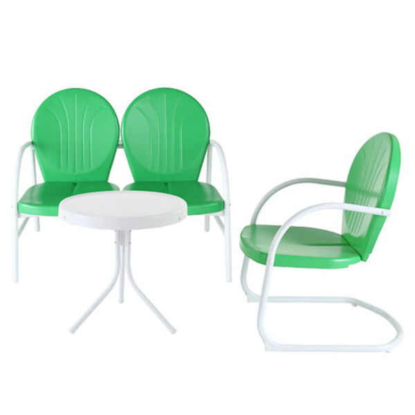 Griffith Three Piece Metal Outdoor Conversation Seating Set: Loveseat and Chair in Grasshopper Green Finish with Side Table in White Finish, image 1