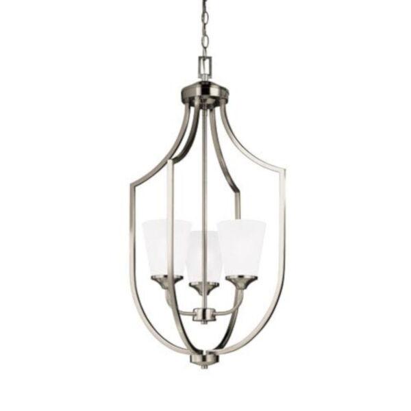 Linden Brushed Nickel Three-Light Lantern Pendant, image 1