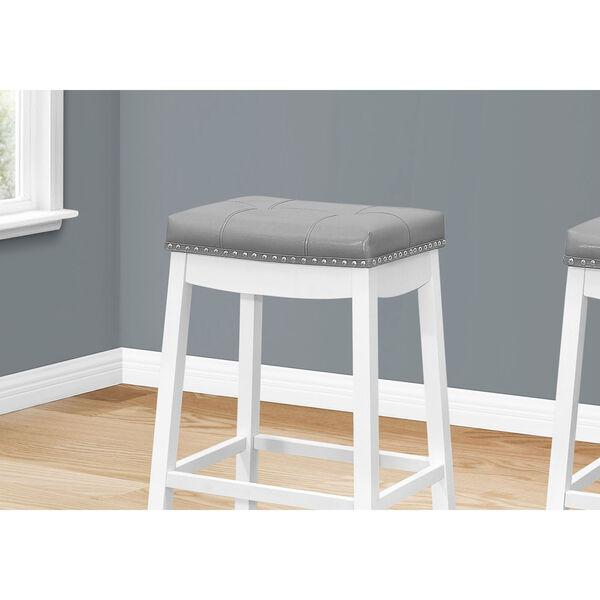 Gray and White 30-Inch Rectangular Swivel Barstool, Set of Two, image 3