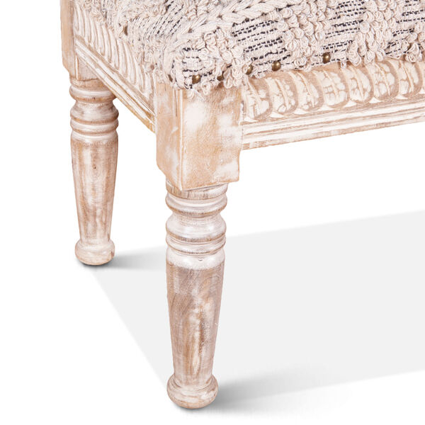 Algiers Off White and Whitewash Accent Bench, image 5