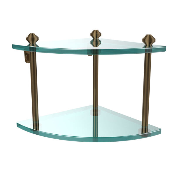 Southbeach Brushed Bronze Double Corner Glass Shelf, image 1