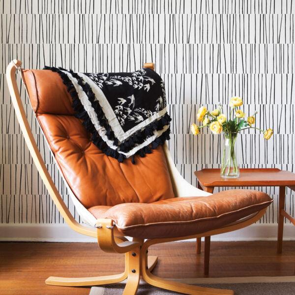 Bobby Berk White and Black Shift Peel and Stick Wallpaper, image 1