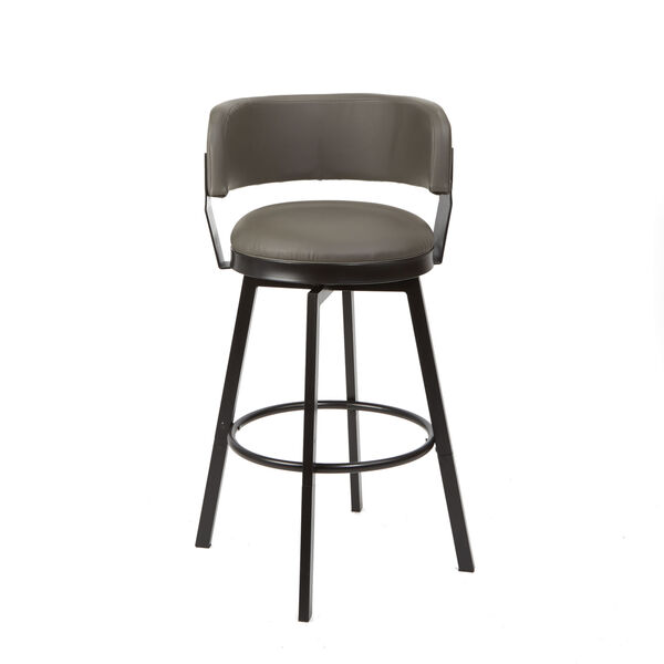 William Charcoal and Dark Rubbed Bronze Upholstered Swivel Barstool, image 4