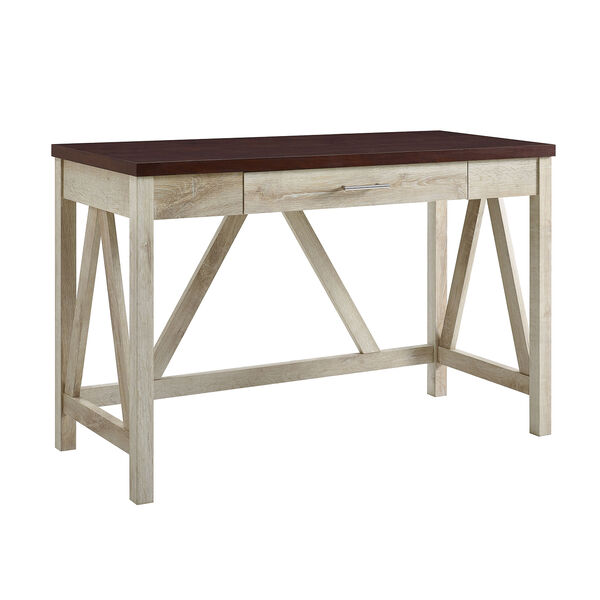 46-Inch A-Frame Desk, White Oak Base/Traditional Brown Top, image 1