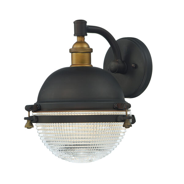 Portside Oil Rubbed Bronze and Antique Brass 10-Inch One-Light Outdoor Wall Mount, image 1