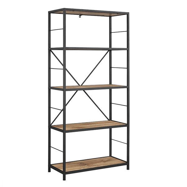 60-inch Rustic Metal and Wood Media Bookshelf - Barnwood, image 2