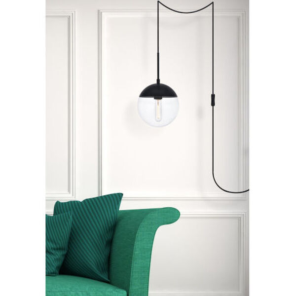 Eclipse Black and Clear Eight-Inch One-Light Plug-In Pendant, image 6