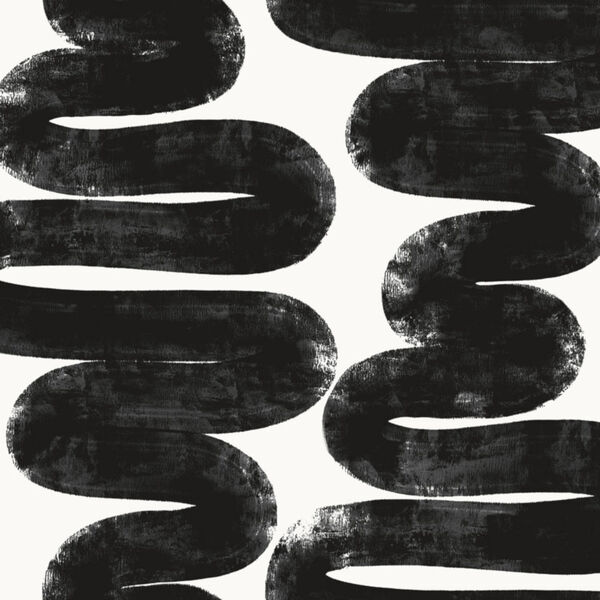 Bobby Berk White and Black Wiggle Room Peel and Stick Wallpaper, image 2