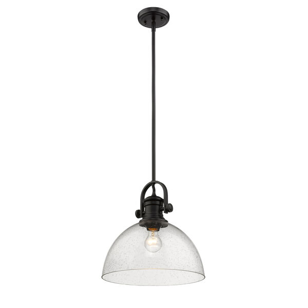 Hines Black 14-Inch One-Light Pendant with Seeded Glass, image 3