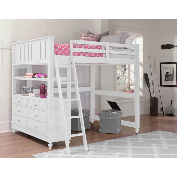 Lake House White Full Loft Bed, image 1